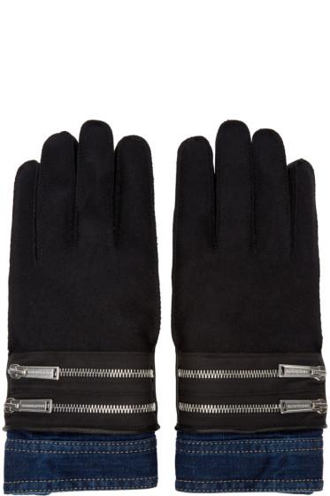 Dsquared2 - Black Denim Cuff Gloves