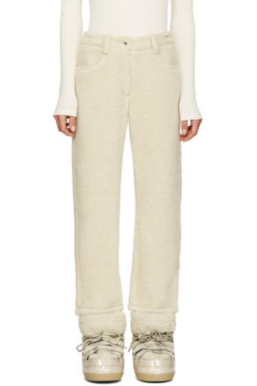 MM6 Maison Margiela - Ecru Faux-Shearling Trousers
