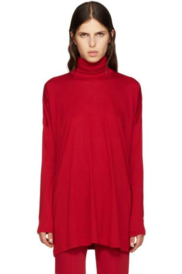 MM6 Maison Margiela - Red Oversized Jersey Turtleneck