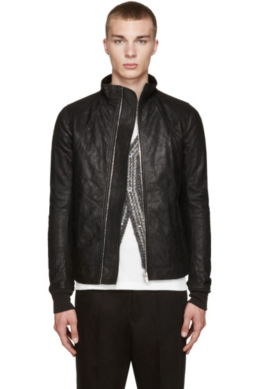 Rick Owens - Black Intarsia Leather Jacket