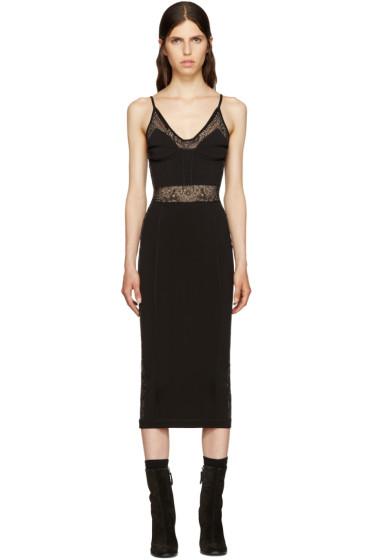Balmain - Black Knit Panelled Dress