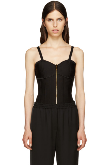 Balmain - Black Zip-Up Bodysuit