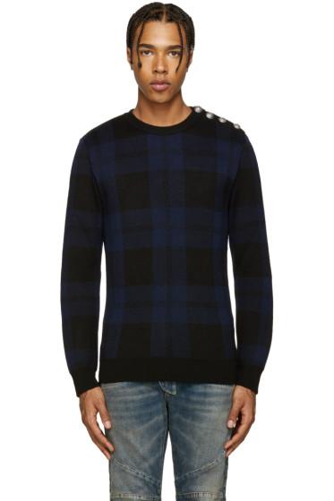 Balmain - Black & Blue Tartan Sweater
