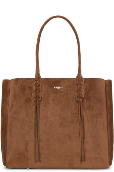 Lanvin - Tan Suede Small Shopper Tote