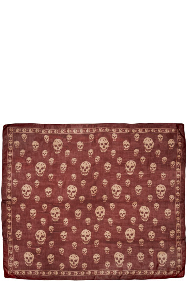 Alexander McQueen - Red Chiffon Skull Scarf