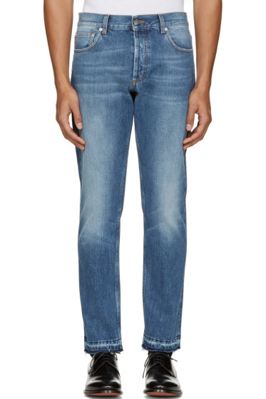 Alexander McQueen - Blue Denim Frayed Jeans