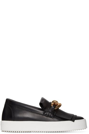 Giuseppe Zanotti - Black Fringe & Chain Loafer Sneakers