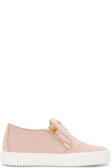Giuseppe Zanotti - Pink Croc-Embossed London Slip-On Sneakers