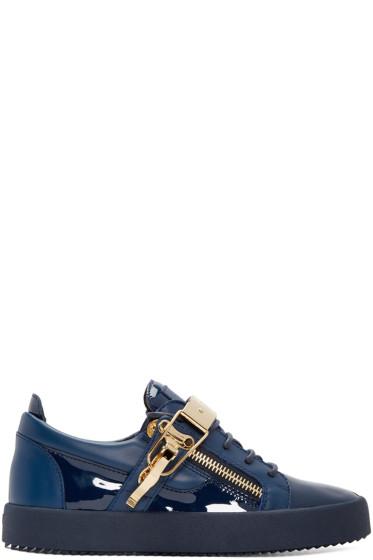 Giuseppe Zanotti - Navy Patent Leather London Sneakers
