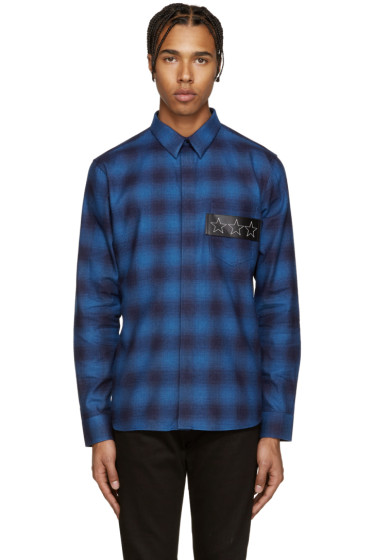 Givenchy - Blue Plaid Stars Shirt