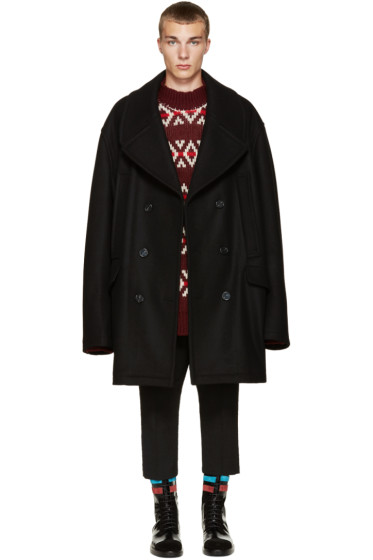 Raf Simons - Black Wool Oversized Peacoat