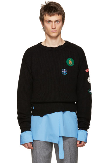 Raf Simons - Black Destroyed Patches Sweater