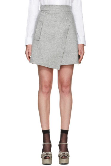 Carven - Grey Wool Wrap Miniskirt
