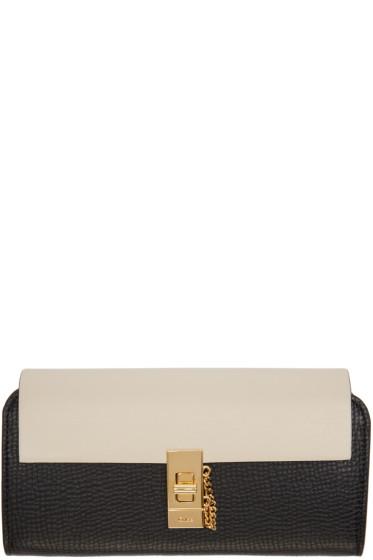 Chloé - Black & Off-White Long Drew Wallet