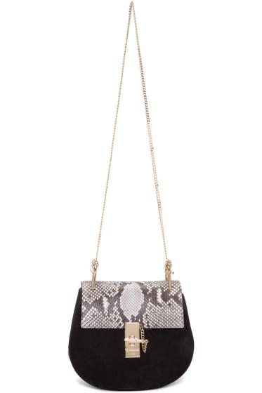 Chloé - Black Python Small Drew Saddle Bag