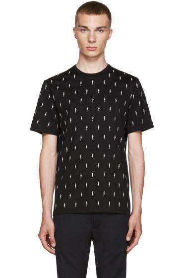 Neil Barrett - Black & White Embroidered Thunderbolt T-Shirt