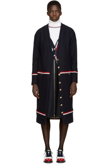 Thom Browne - Navy Wool Long Cardigan