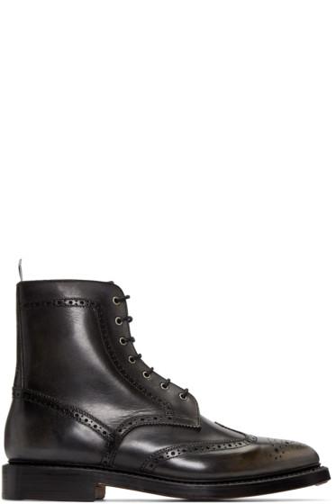 Thom Browne - Black Distressed Wingtip Boots