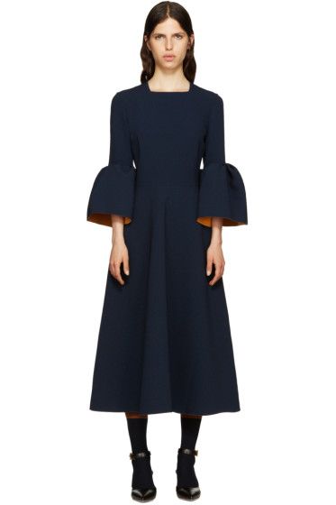 Roksanda - Navy Ruffle Turlin Dress