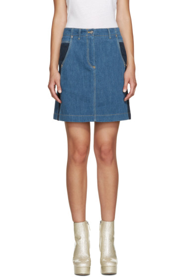 Kenzo - Blue Speckled Denim Skirt