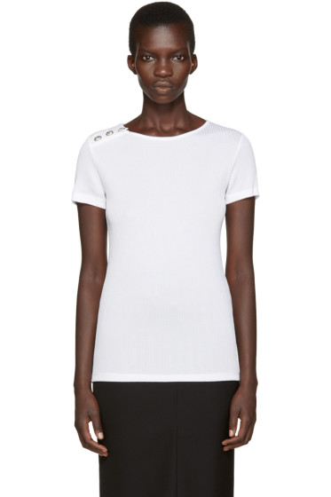 Versus - White Ribbed T-Shirt