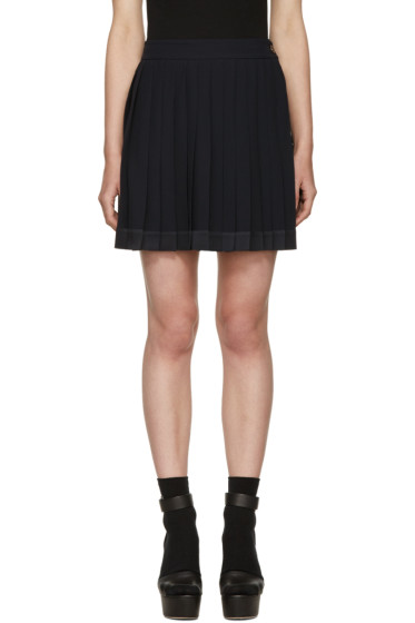 Versace - Navy Pleated Miniskirt