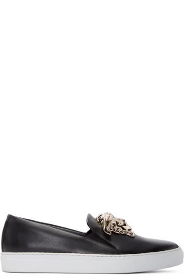 Versace - Black Leather Medusa Slip-On Sneakers
