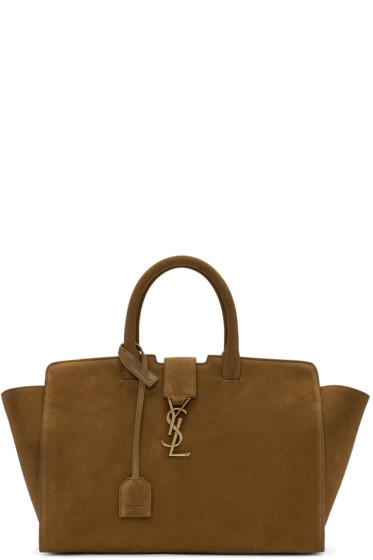 Saint Laurent - Brown Suede Small Monogram Tote