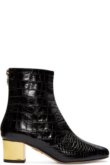 Charlotte Olympia - Black Croc-Embossed Winnie Boots