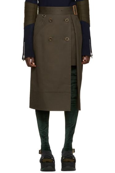 Sacai - Green Trench Wrap Skirt
