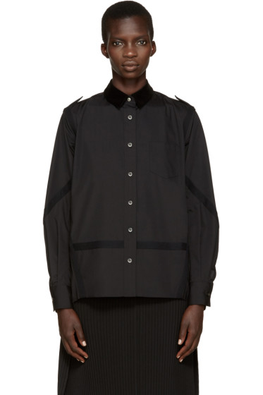Sacai - Black Velvet Collar Pleated Shirt