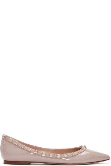 Valentino - Pink Patent Leather Rockstud Flats