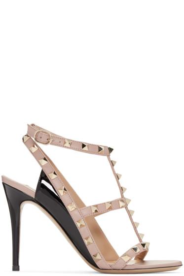 Valentino - Pink & Black Rockstud Cage Sandals