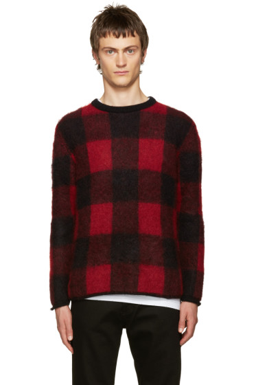 Valentino - Black & Red Mohair Check Sweater
