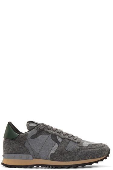 Valentino - Grey Felt Camo Rockrunner Sneakers