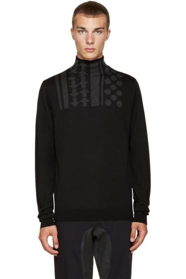 Kolor - Black Wool Intarsia Turtleneck