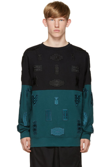 Marcelo Burlon County of Milan - Black & Turquoise Embroidered Ollague Pullover