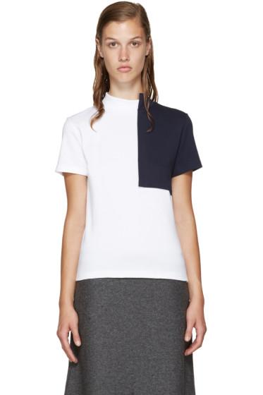 Jacquemus - White & Navy Square Collar T-Shirt