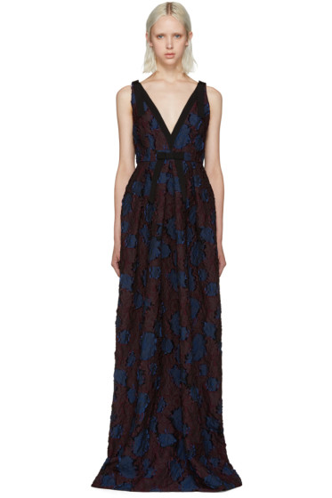 Erdem - Burgundy & Navy Ceren Dress