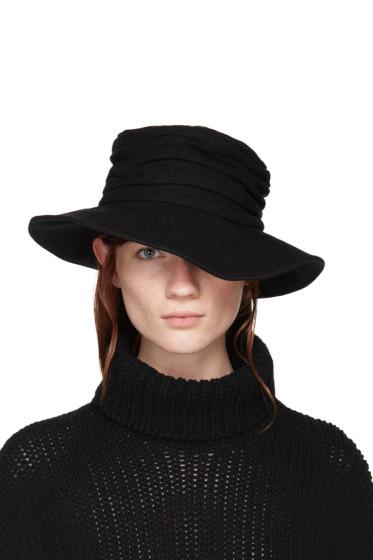 Y's - Black Wool Cloche Hat