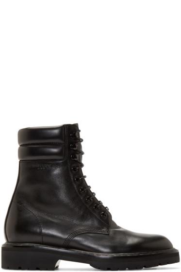 Saint Laurent - Black Leather High Combat Boots
