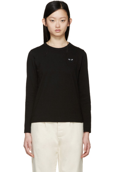 Comme des Garçons Play - Black Long Sleeve Heart Patch T-Shirt