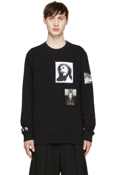 Givenchy - Black Distressed Jesus Patches Sweatshirt