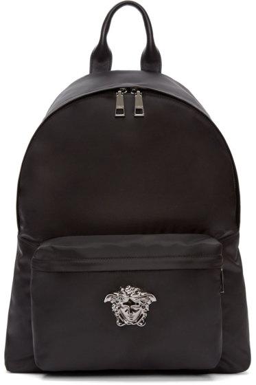 Versace - Black & Gunmetal Nylon Medusa Backpack
