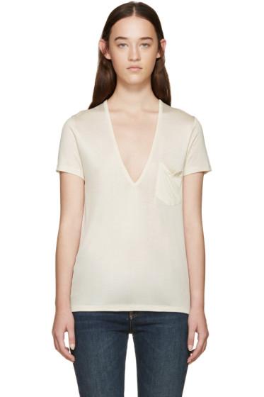 Saint Laurent - Cream Silk V-Neck T-Shirt