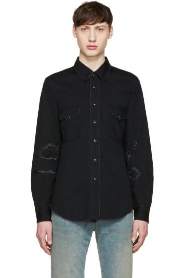 Saint Laurent - Black Denim Destroyed Shirt