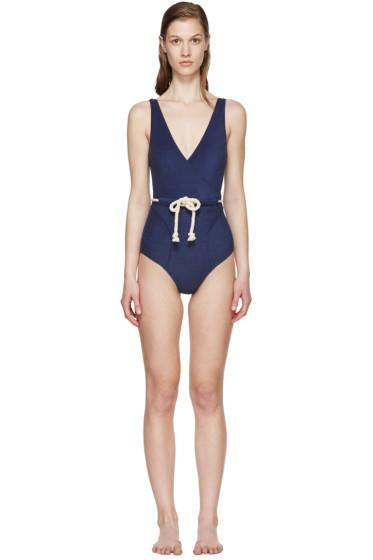 Lisa Marie Fernandez - Navy Yasmin Terry Drawstring Swimsuit