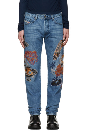 Diesel - Blue Embroidered D-Buster Jeans