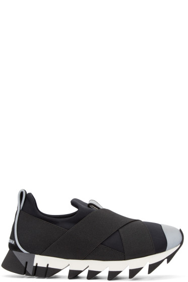 Dolce & Gabbana - Black Straps Slip-On Sneakers