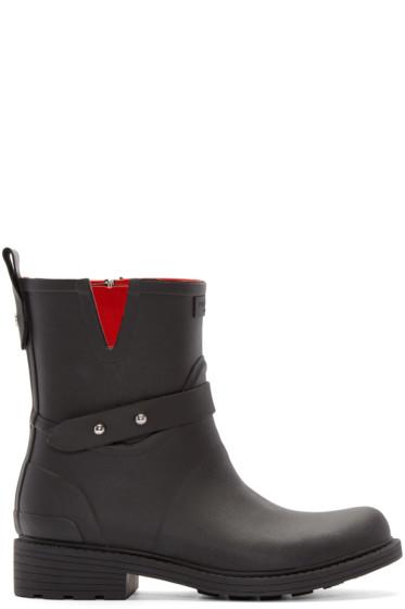 Rag & Bone - Black Rubber Moto Rain Boots